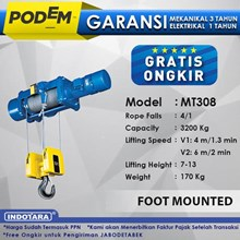 Electric Wire Rope Hoist Podem Foot Mounted MT308 (4 Rope Falls)