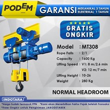 Electric Wire Rope Hoist Podem Normal Headroom MT308 (2 Rope Falls)