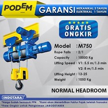 Electric Wire Rope Hoist Podem Normal Headroom Hoist M750(2 Rope Falls)