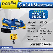 Electric Wire Rope Hoist Podem Low Headroom MT308 (2 Rope Falls)