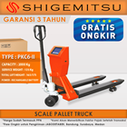 Scale Pallet Truck PKC6-II Hand Pallet Shigemitsu dengan Printer 1