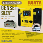 Genset Diesel IWATA 5Kva Silent - PWM5000-SE with ATS Connector Plus ATS 1