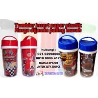 Distributor TUMBLER INSERT PAPER PROMOSI TUTUP BIRU MERAH 3