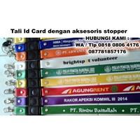 Tali Id Card dengan aksesoris stopper - Kartu Tand