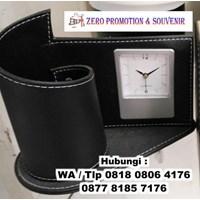 Promotional desk Holder Leather Desk Clocks Promot