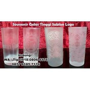 Souvenir Gelas Tinggi Sablon Logo Gelas Promosi