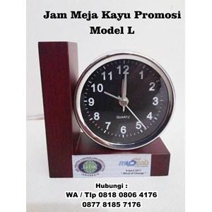 Jam Meja Kayu Promosi Model L - Jam Promosi