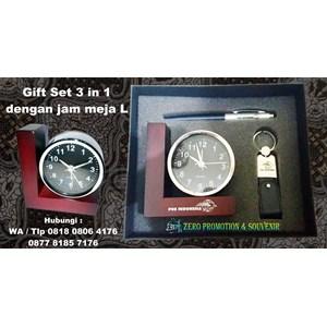 Barang Promosi Perusahaan Souvenir Gift Set 3 In 1 Dengan Jam Meja L