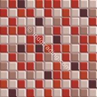 Keramik Mozaik Kaca Ukuran 30 X 30 Merah Tua