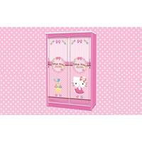 Jual Wardrobe Lemari Pakaian Anak Slidding Karakter Hello Kitty Smile Heart WD HK 1901 SH
