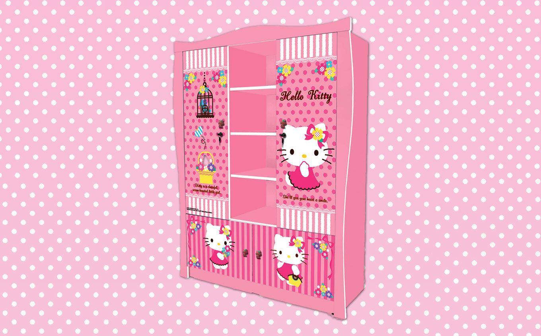 Jual Wardrobe Lemari Pakaian Anak Karakter Hello Kitty