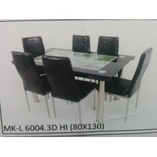 Meja Makan Kaca Lengkung 6 Kursi MK L 6004.3D HI Full Set