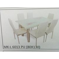 Jual Meja Makan Kaca Lengkung 6 Kursi MK L 6013 PU Full Set