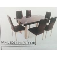 Jual Meja Makan Kaca Lengkung 6 Kursi MK L 6014 HI Full Set