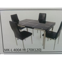 Jual Meja Makan Kaca Lengkung 4 Kursi MK L 4004 HI Full Set