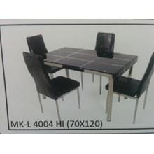 Meja Makan Kaca Lengkung 4 Kursi MK L 4004 HI Full Set