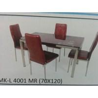 Jual Meja Makan Kaca Lengkung 4 Kursi MK L 4001 MR Full Set
