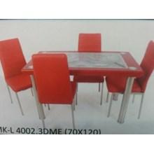 Meja Makan Kaca Lengkung 4 Kursi MK L 4002.3D ME Full Set