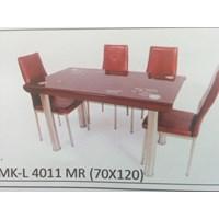 Jual Meja Makan Kaca Lengkung 4 Kursi MK L 4011 MR Full Set