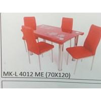 Jual Meja Makan Kaca Lengkung 4 Kursi MK L 4012 ME Full Set
