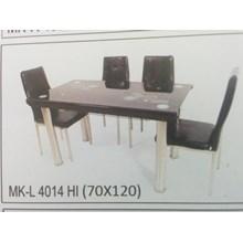 Meja Makan Kaca Lengkung 4 Kursi MK L 4014 HI Full Set