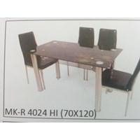 Jual Meja Makan Kaca Rata 4 Kursi MK R 4024 HI Full Set