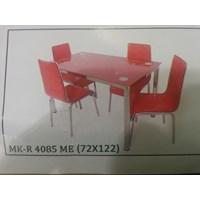 Jual Meja Makan Kaca Rata 4 Kursi MK R 4085 ME Full Set