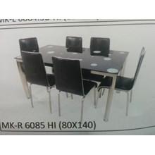Meja Makan Kaca Rata 6 Kursi MK R 6085 HI Full Set