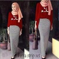 Hijab Ferra Strip Maroon