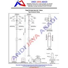 Tiang PJU Solar Sell Bulat Type Ornament Clamp 7 meter
