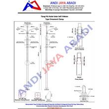 Tiang PJU Solar Sell Bulat Type Ornament Clamp 9 meter