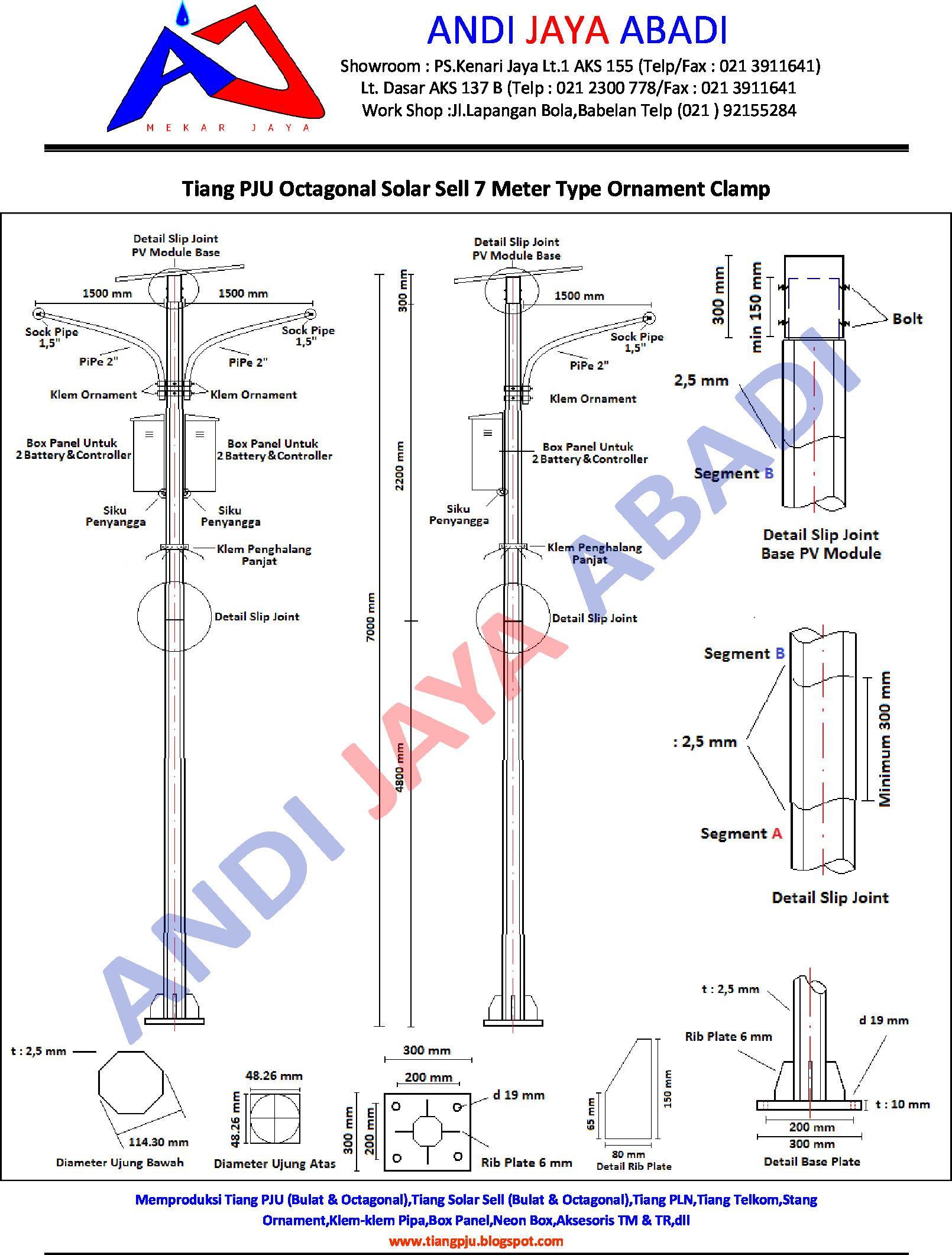 Jual Tiang Pju Solar Sell Octagonal Type Ornament Clamp 7