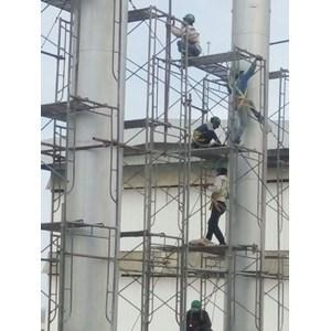 Repainting chimney boiler Elefasi 50mtr By Mitsal Luhur Indonesia