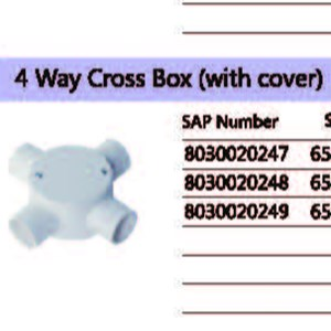 Dari 4 Way Cross Box (With Cover) PVC Conduit Merk Lesso 2