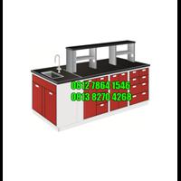 Meja Lab Ruang Tengah dengan Sink/Rack Steel Island Bench with Sink and Rack (Lemari Asam)