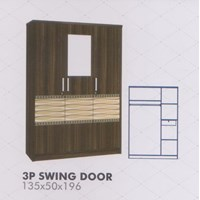 Lemari Pakaian Melody Amarillo Series 3P Swing Door 1