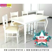 meja makan putih