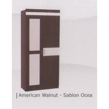 lemari pakaian  dua pintu warna coklat tua