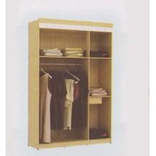 lemari pakaian tiga pintu warna coklat tiga susun