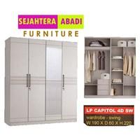 lemari pakaian  3 pintu warna warna putih glossy