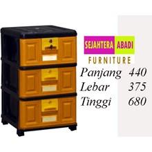lemari plastik pakaian napolly STB - 300 - BK1 (STB - 300 - BK1)