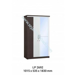 lemari pakaian 2 pintu cermin LP2692 (1015X535X1830)