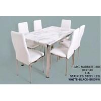 meja makan marmer 866  warna putih merk saf 1 meja makan 6 kursi