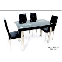 Jual meja makan marmer 4 kursi warna hitam merk SAF type 4014 HI uk. 70x120