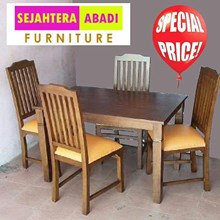 meja makan kayu 4 kursi ukuran 120x80x75