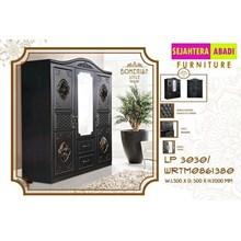 lemari pakain merk olmpic 3 pintu warna hitam