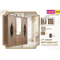 lemari pakaian merk olmpic 3 pintu warna coklat