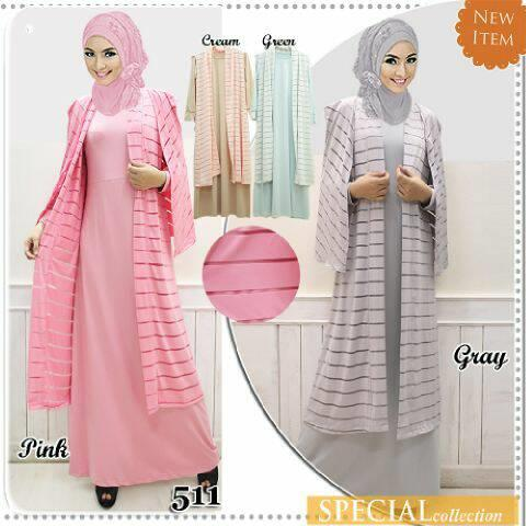 Jual Baju Muslim Motif Garis Garis Type 511 Harga Murah