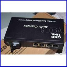 Fiber Optik - Media Converter with 4 LAN - SM WDM