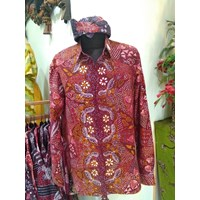Jual Kemeja Batik Tulis madura modern motif kupu diagonal warna merah